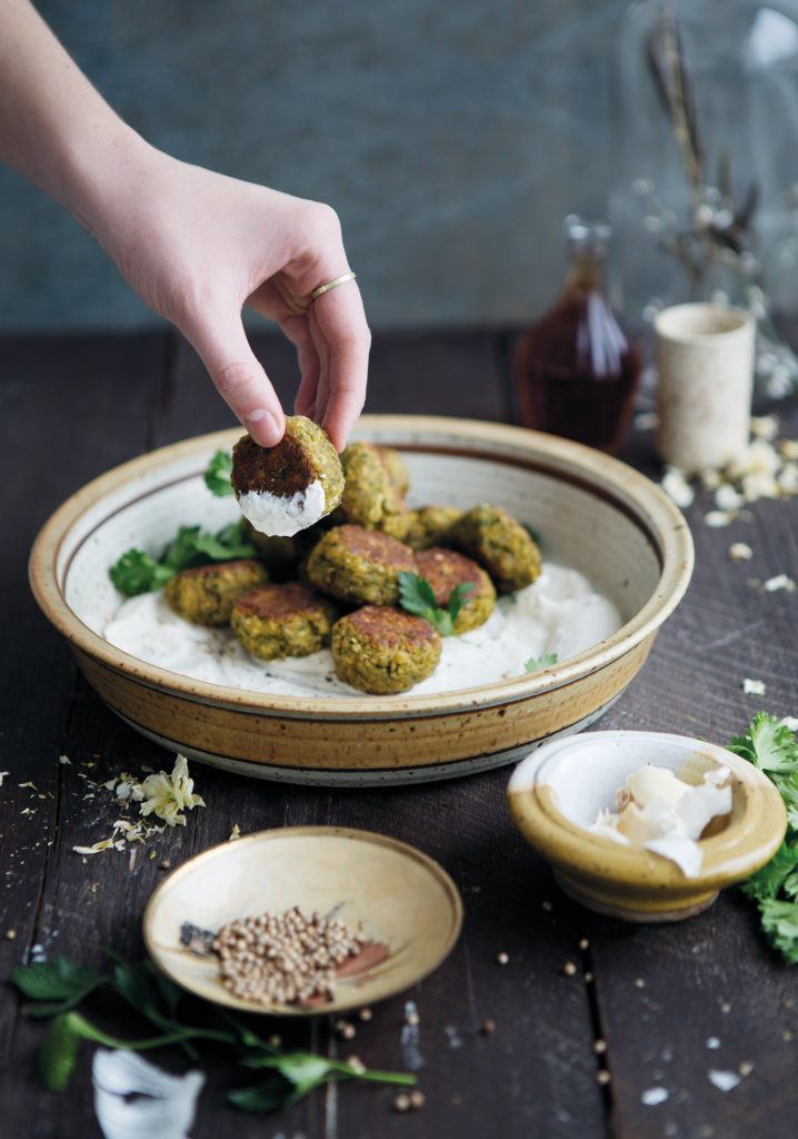 Corn falafels & yogurt sauce
