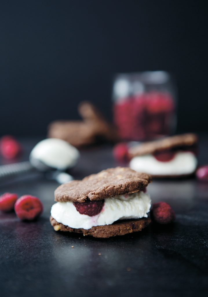 Quick-fix chocolate & raspberry ice cream sandwiches
