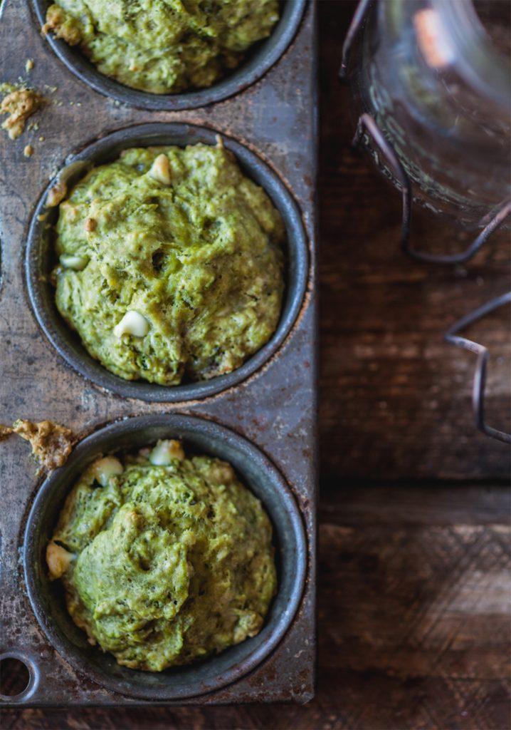 Muffins au thé vert & chocolat blanc