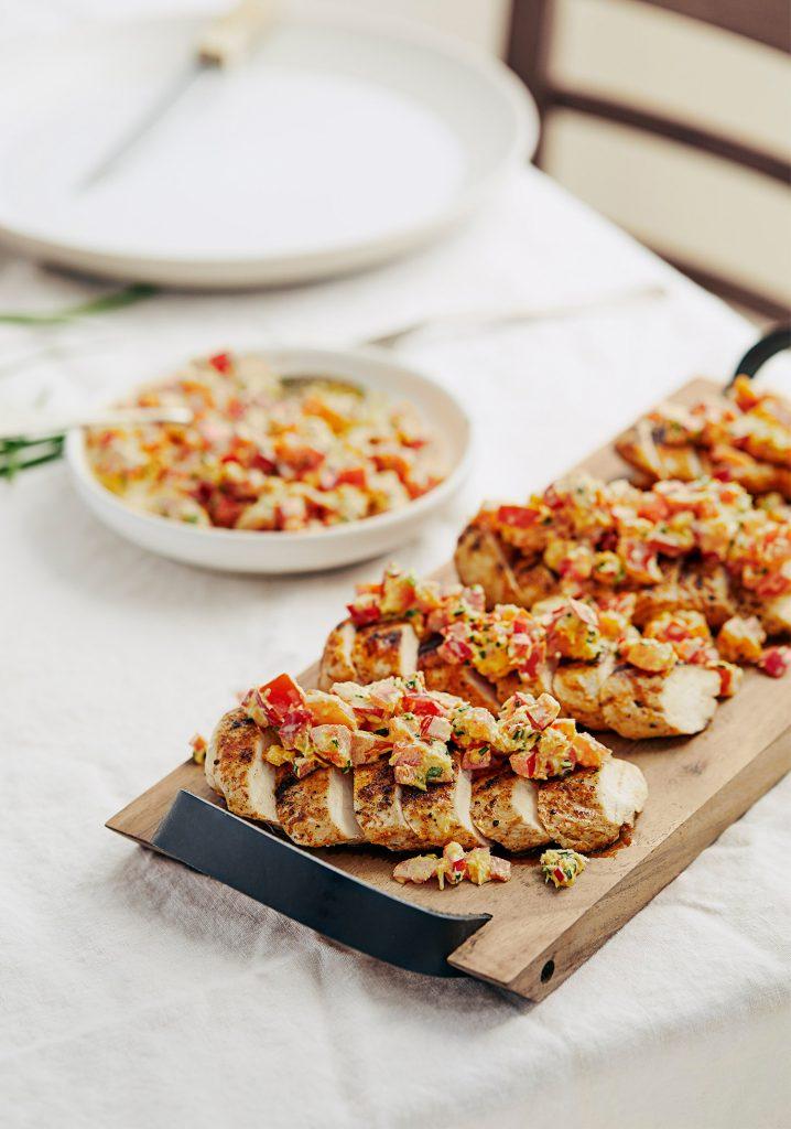 Poulet grillé & salsa crémeuse au safran