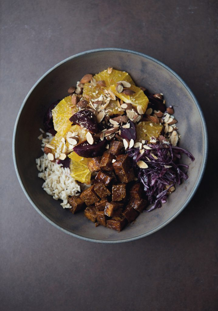 Brown rice, tofu, red cabbage, orange, beets & almond bowl