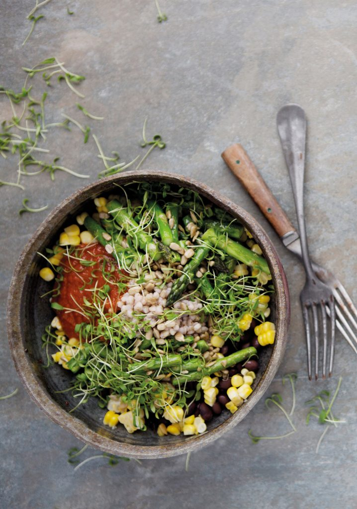 Buckwheat, asparagus, corn, black beans & dried tomato bowl