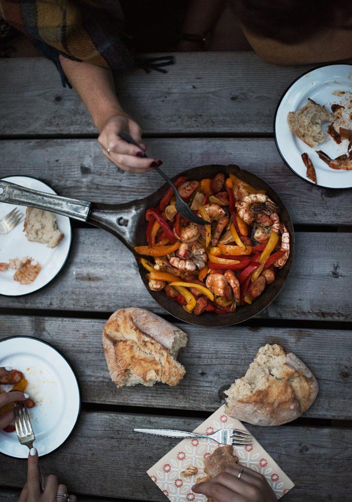 Crevettes, chorizo et poivrons grillés