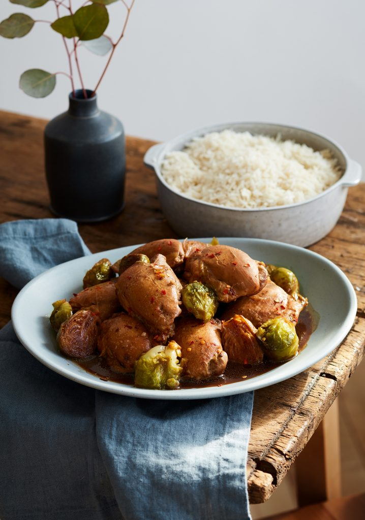 Soy sauce & maple syrup braised chicken thighs