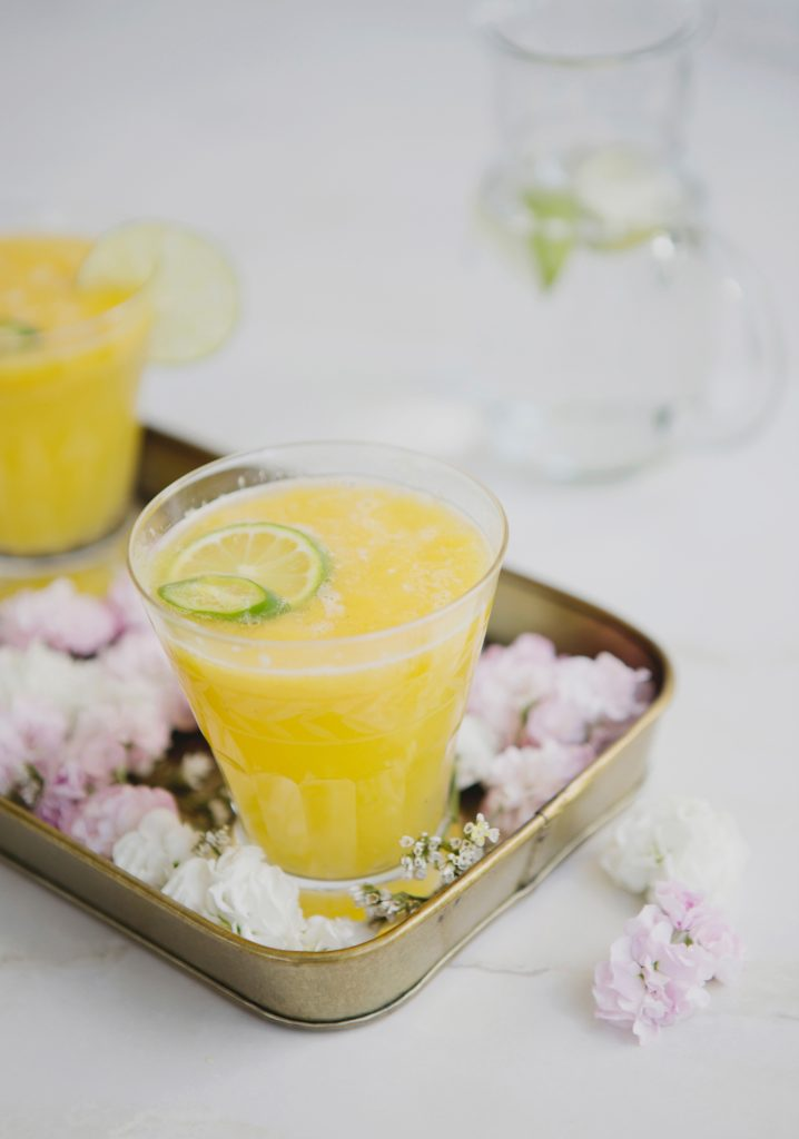 Ginger, lime & mango puree Mocktails