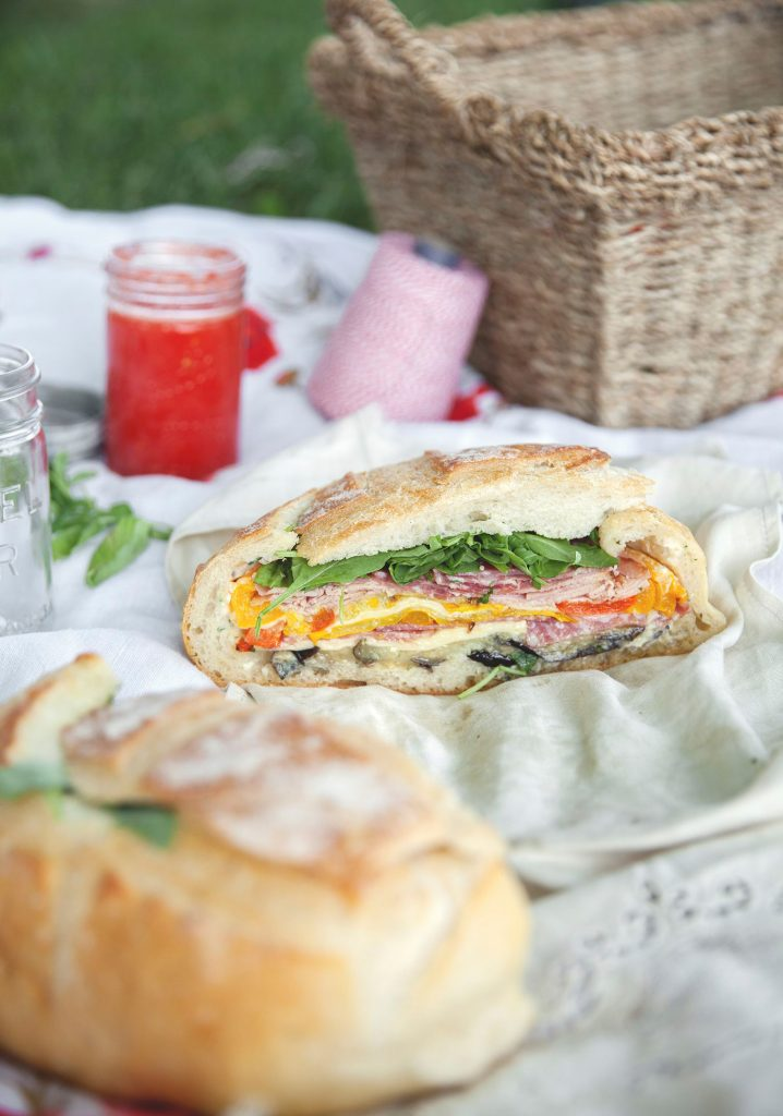 Grilled vegetable & deli meat muffaletta for two