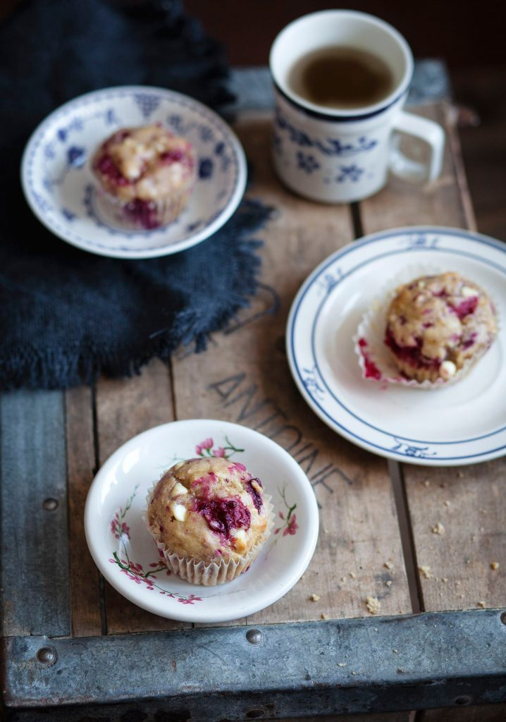 Banana, raspberry & white chocolate muffins