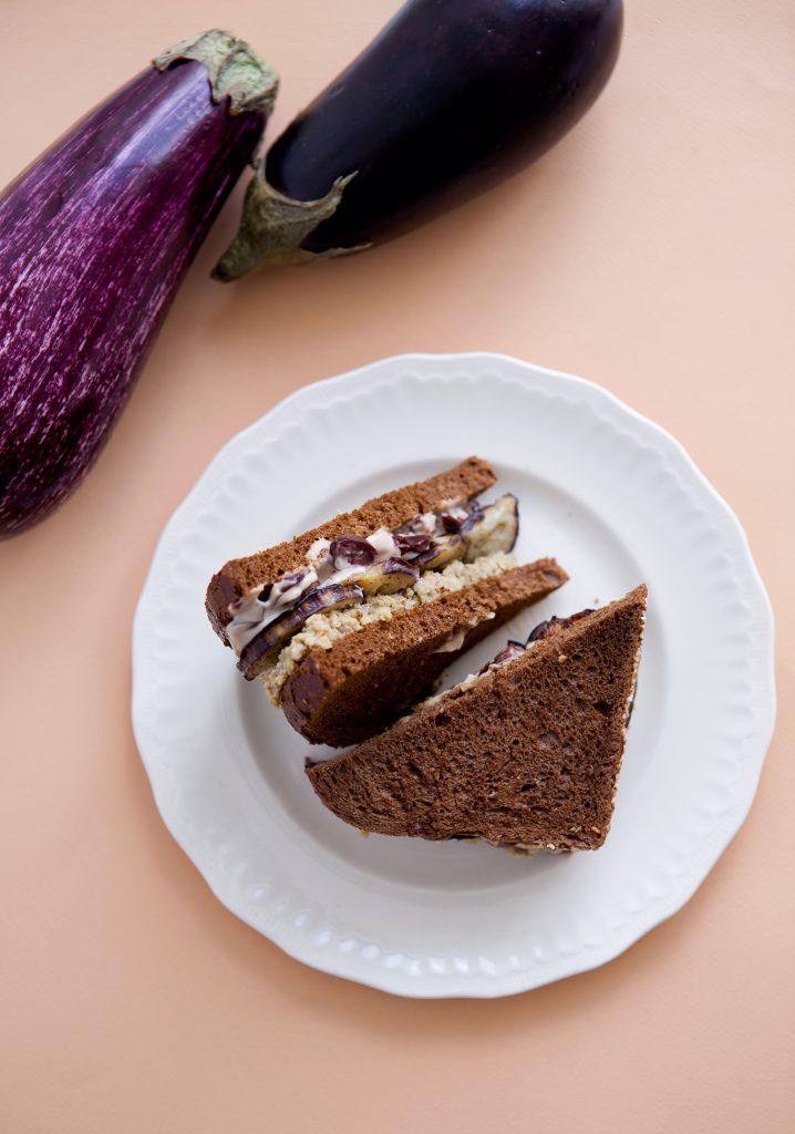 Multigrain bread, végépâté, grilled eggplant & olive mayonnaise