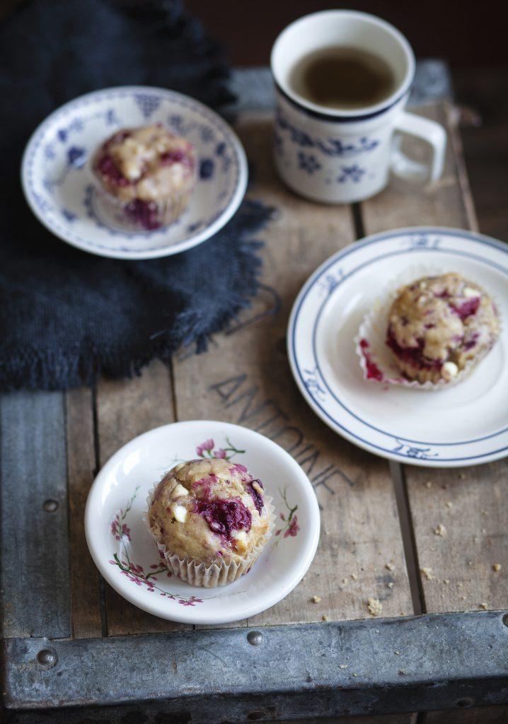 Muffins Aux Bananes Framboises Chocolat Blanc Trois Fois Par Jour