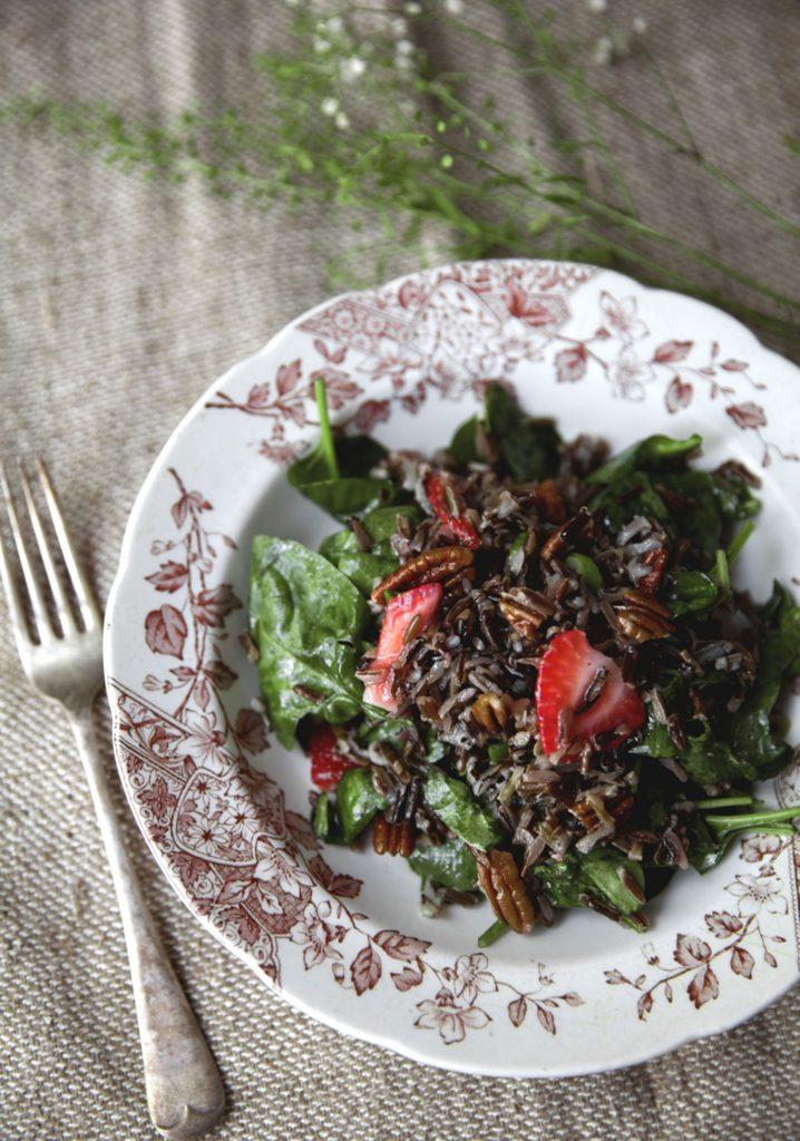 Salade de riz sauvage & fraises