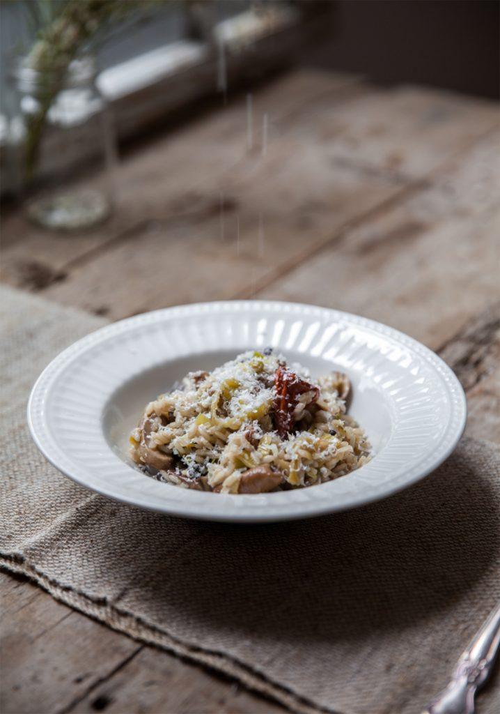 Leek & mushroom risotto