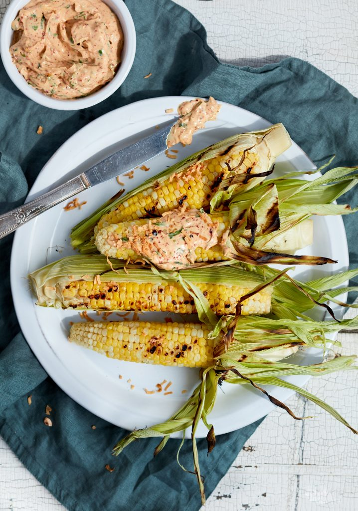 Spicy mayo & roasted coconut corn on the cobb topping