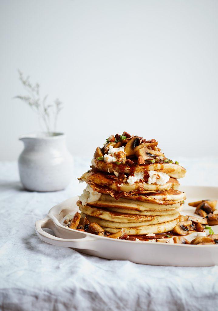 Salted herbs, ricotta, mushrooms & almond pancakes