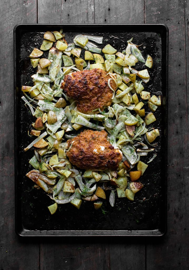 Oven roasted chicken breasts, potatoes, fennel & onions