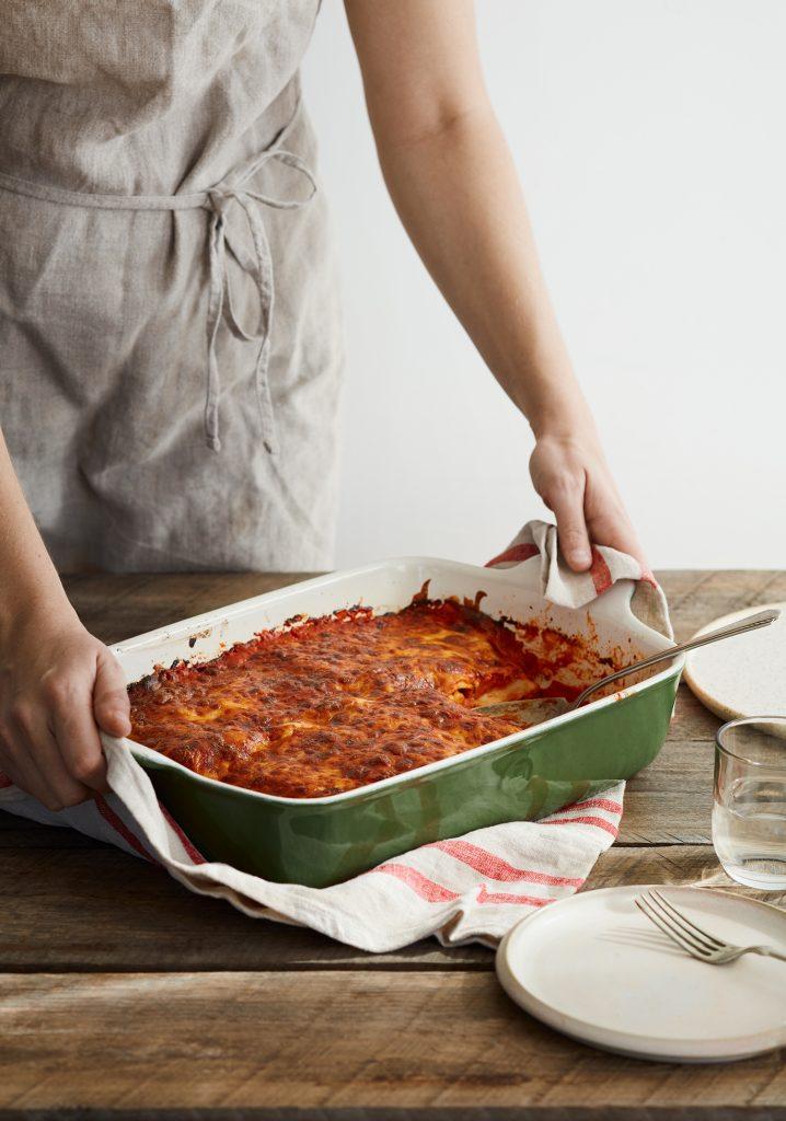Lasagne au jambon, à la courge musquée & à la sauce rosée