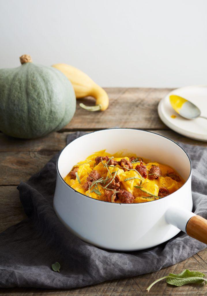 Sausage & creamy pumpkin sauce pasta