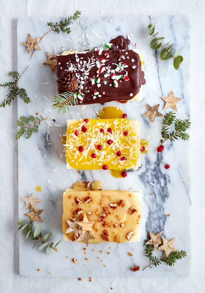 Trois garnitures pour bûches miniatures de Noël