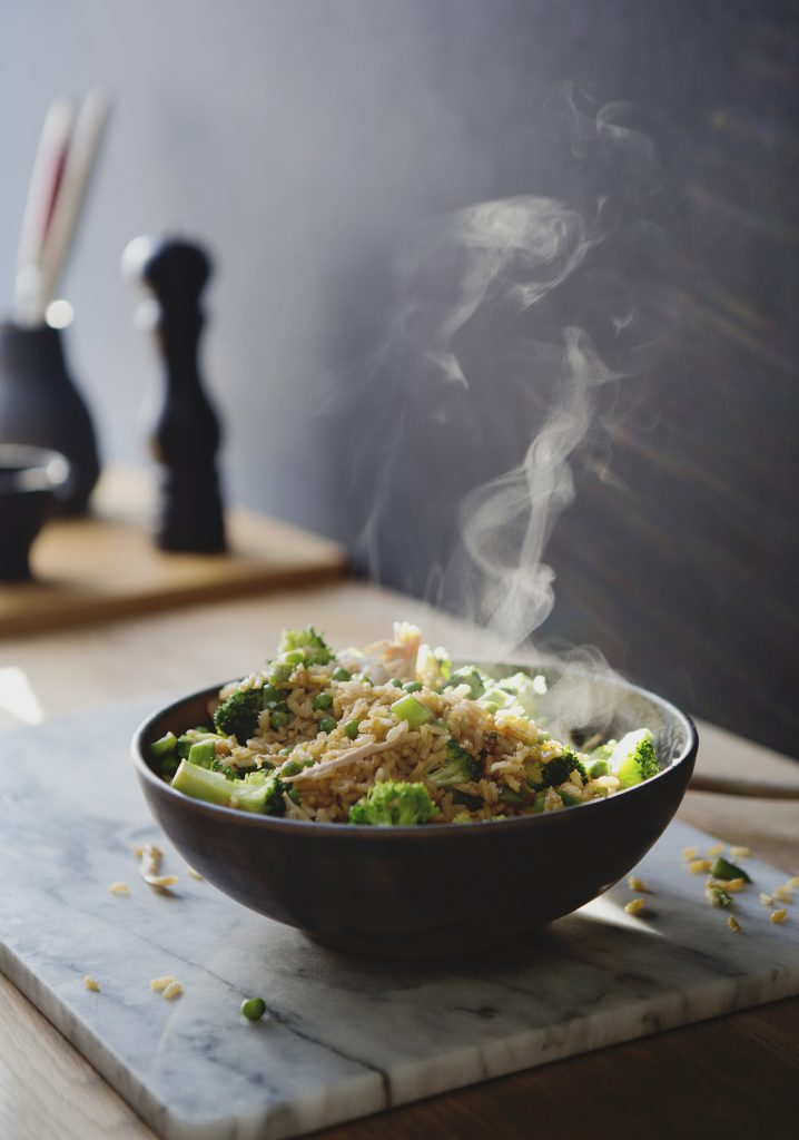 Riz frit à la dinde & aux légumes verts