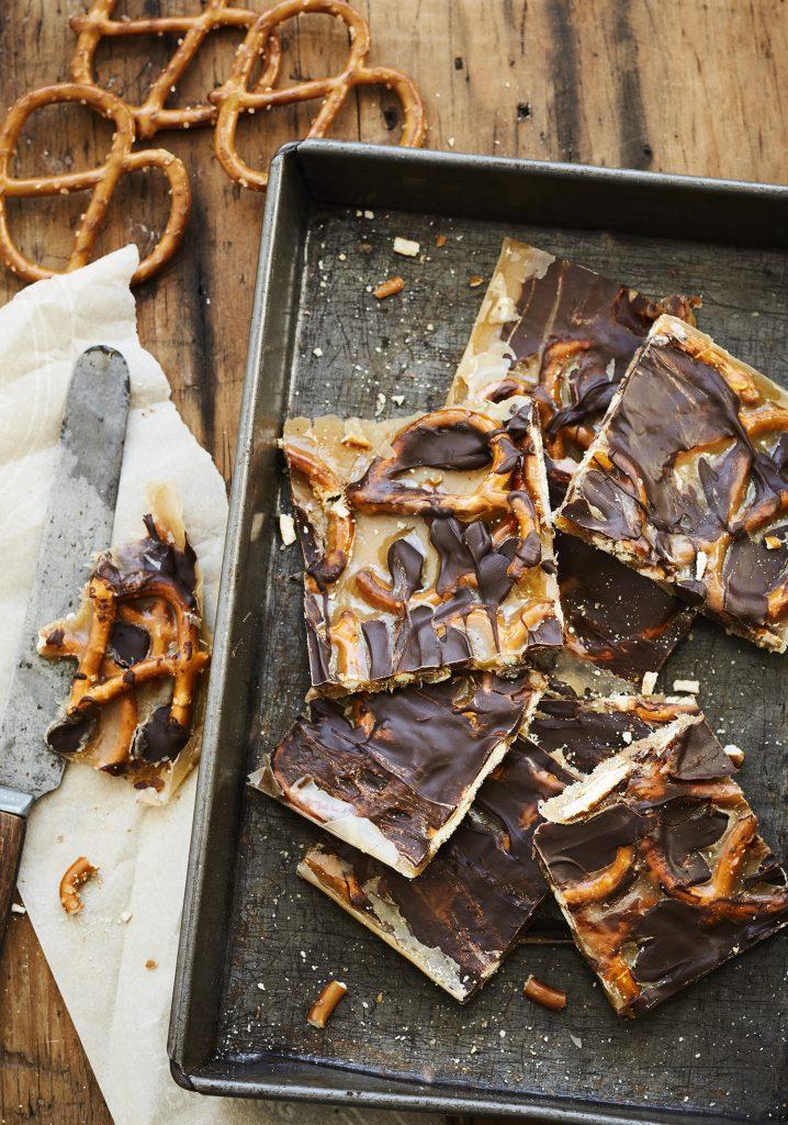Caramel croquant aux bretzels & au chocolat