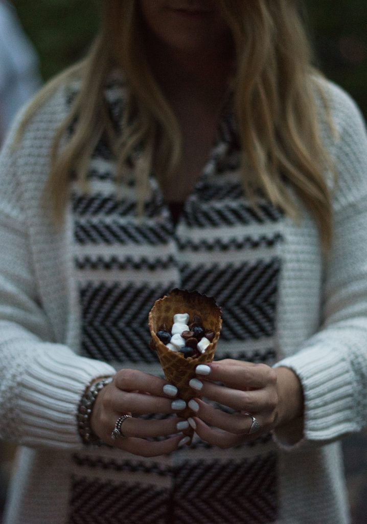 Marshmallow & chocolate filled hot ice cream cone