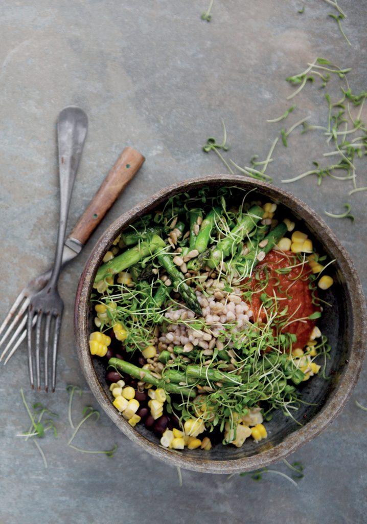 Buckwheat, asparagus, corn, black beans & dried tomato bowl