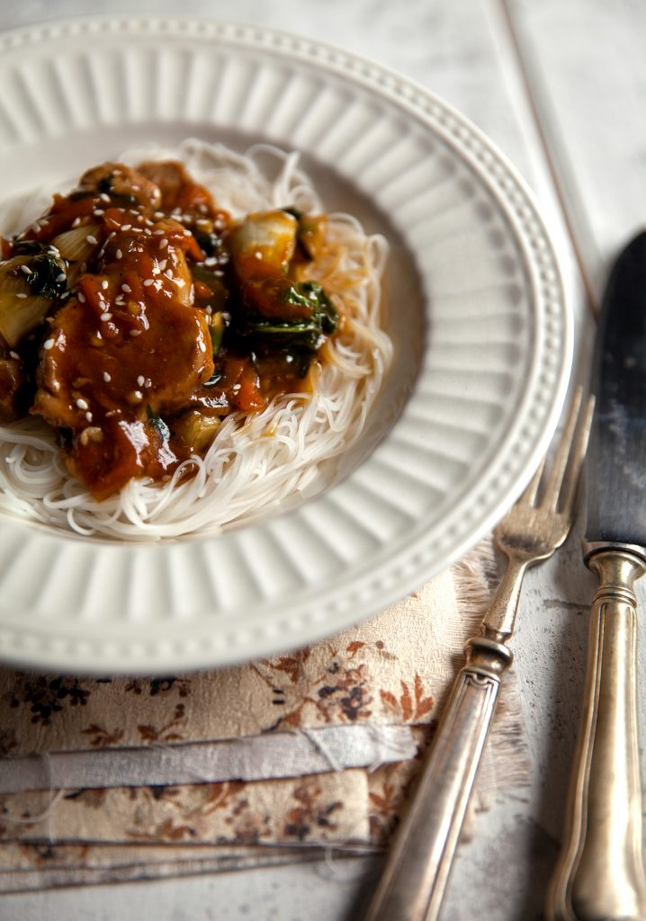 Caramel pork with bok choy & vermicelli