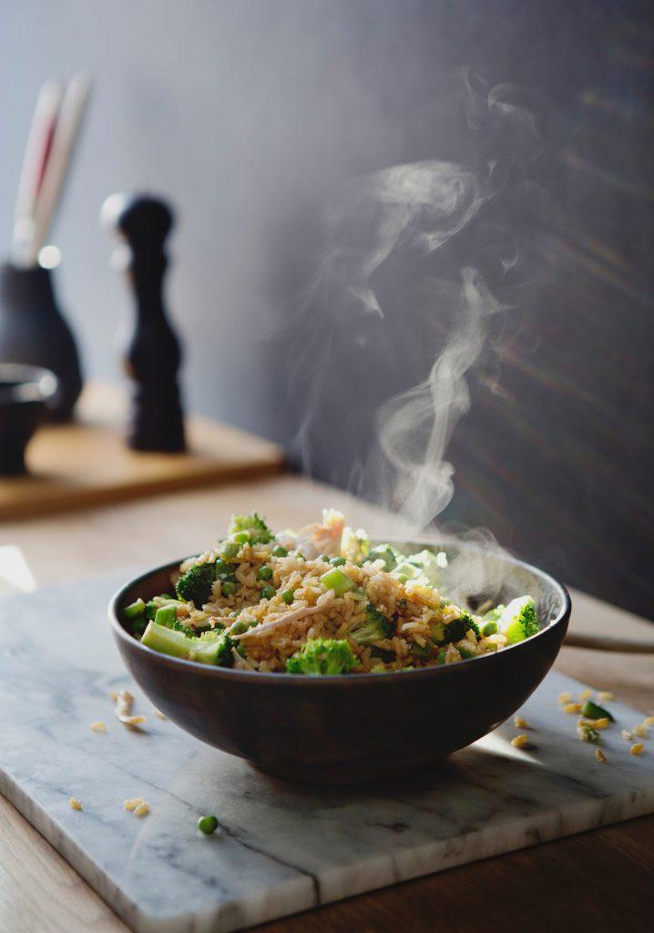 Turkey fried rice & green vegetables