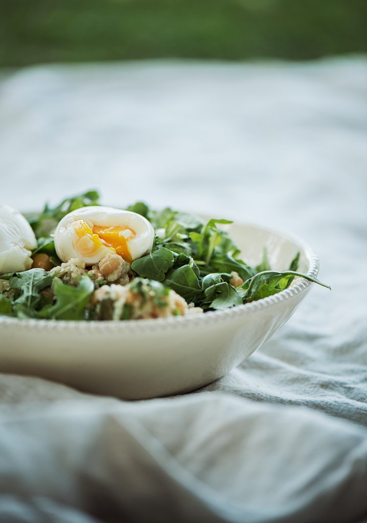 Couscous salad, boiled eggs & salted herbs dressing