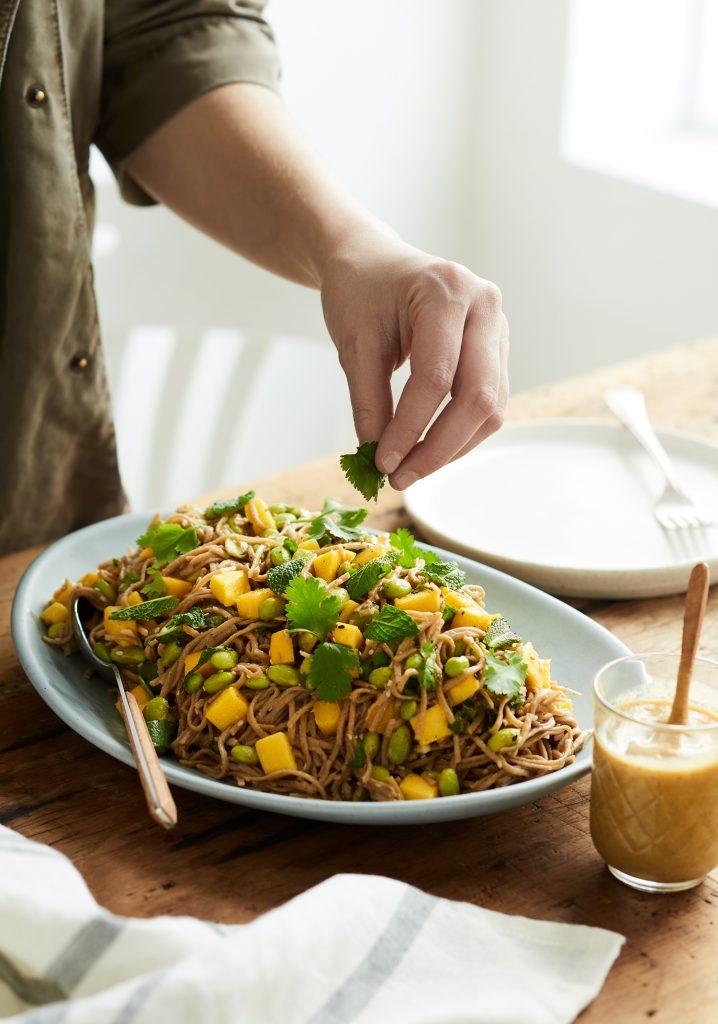 Edamames, mango & eggplant dressing soba noodle salad