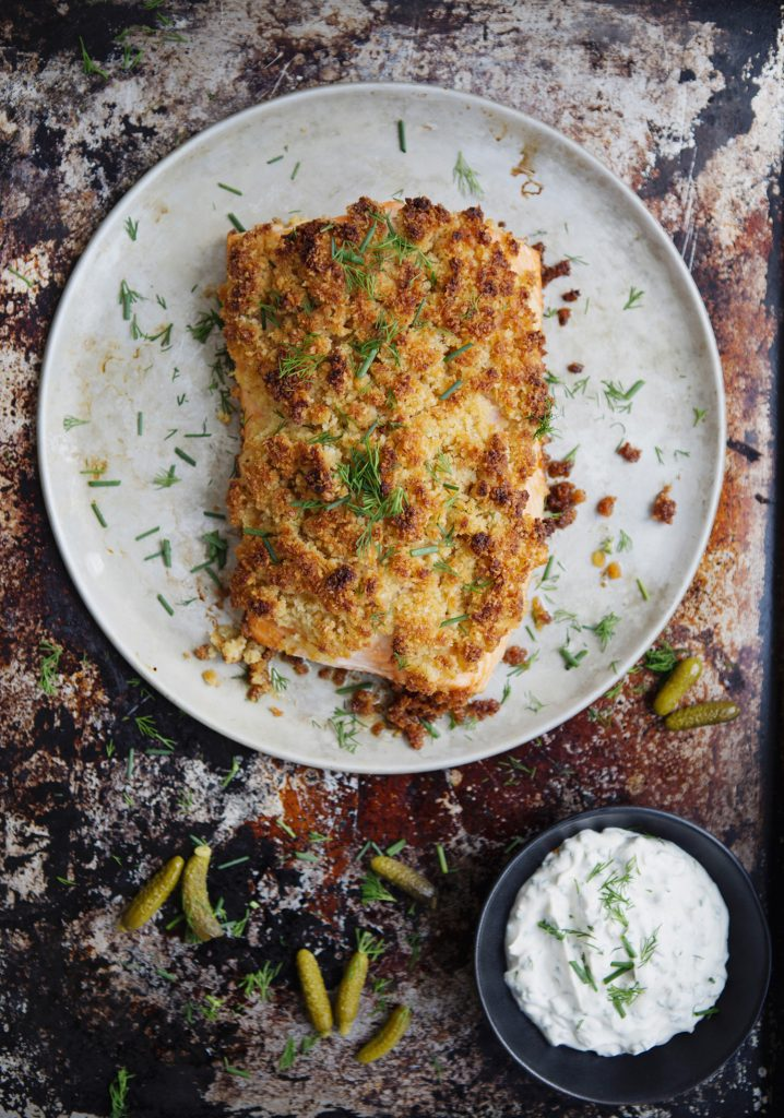 Crusted Salmon & pickle sauce
