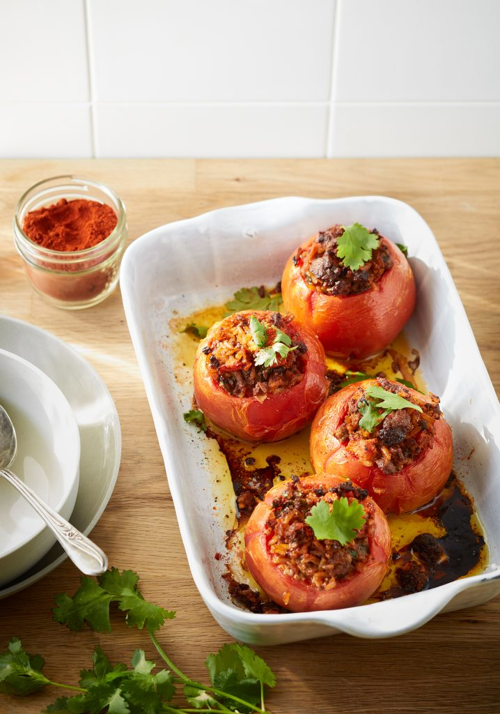 Beef & rice stuffed tomatoes
