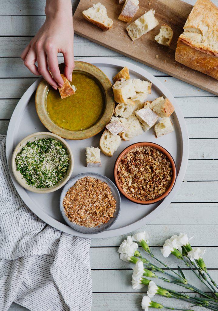 Trois idées de trempettes sèches & huile d'olive