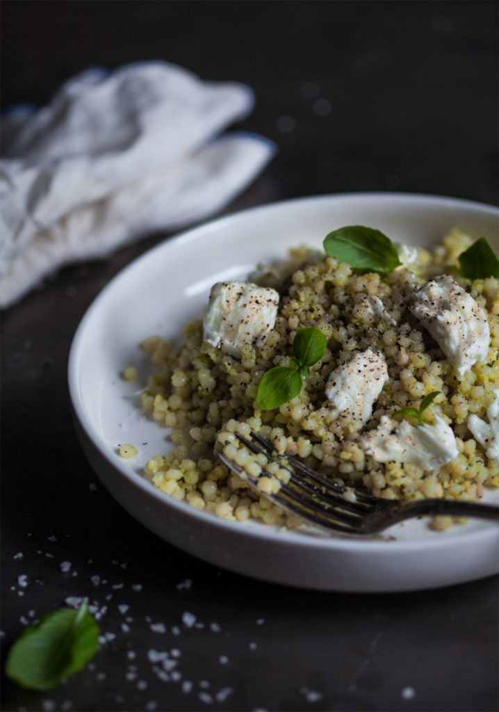 Couscous Israelien Pesto D Amandes Mozzarella Di Bufala Trois
