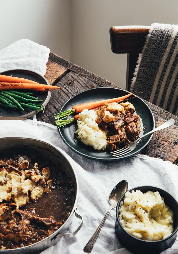 Rôti de palette de veau au goût de soupe à l'oignon gratinée