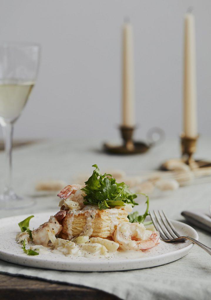 Timbales aux crevettes et au fenouil & sauce à la crème et au citron