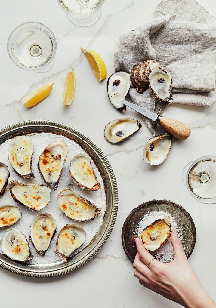Huîtres gratinées à la crème, au raifort & au citron