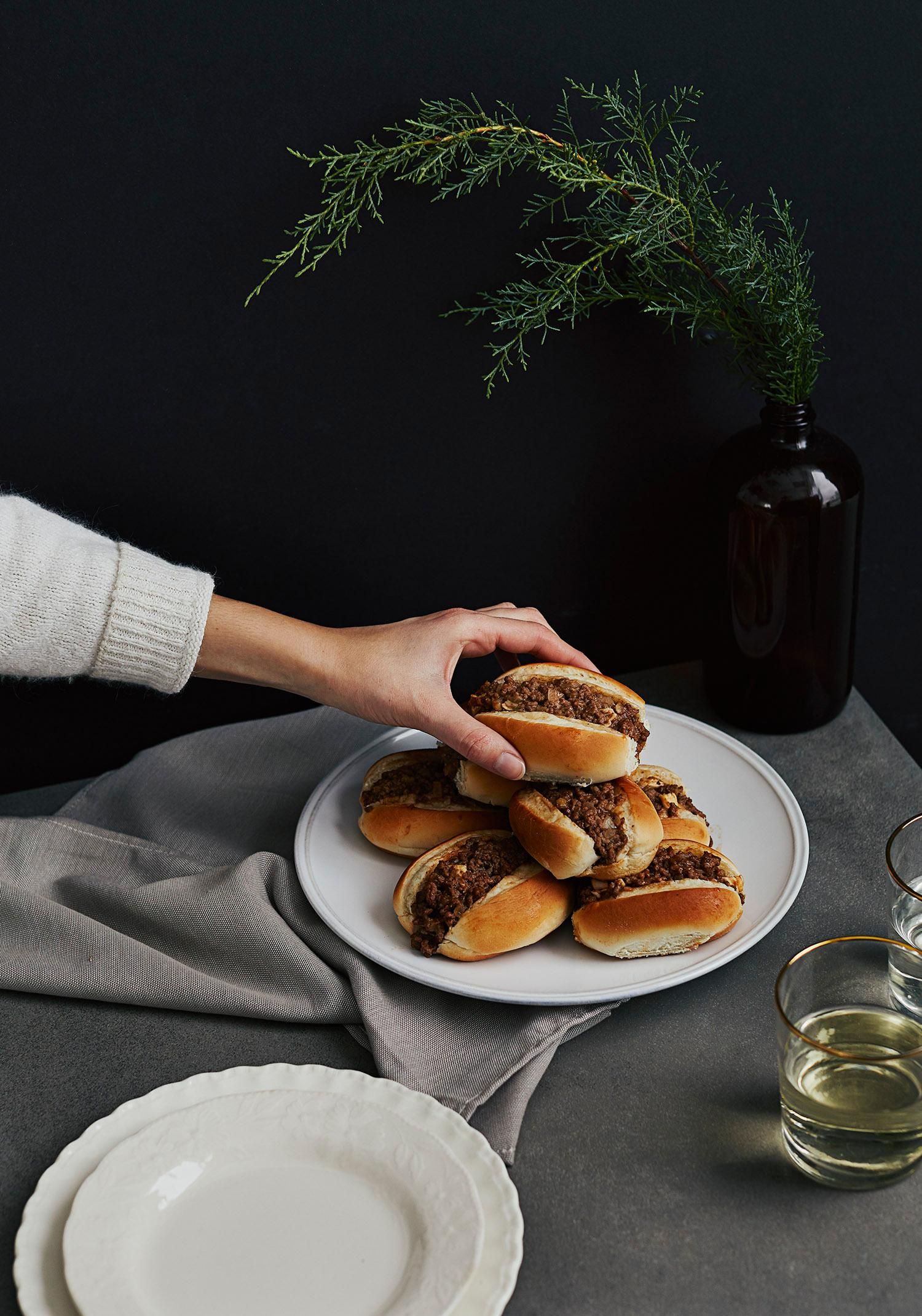 Petits pains farcis au boeuf & au fromage brie