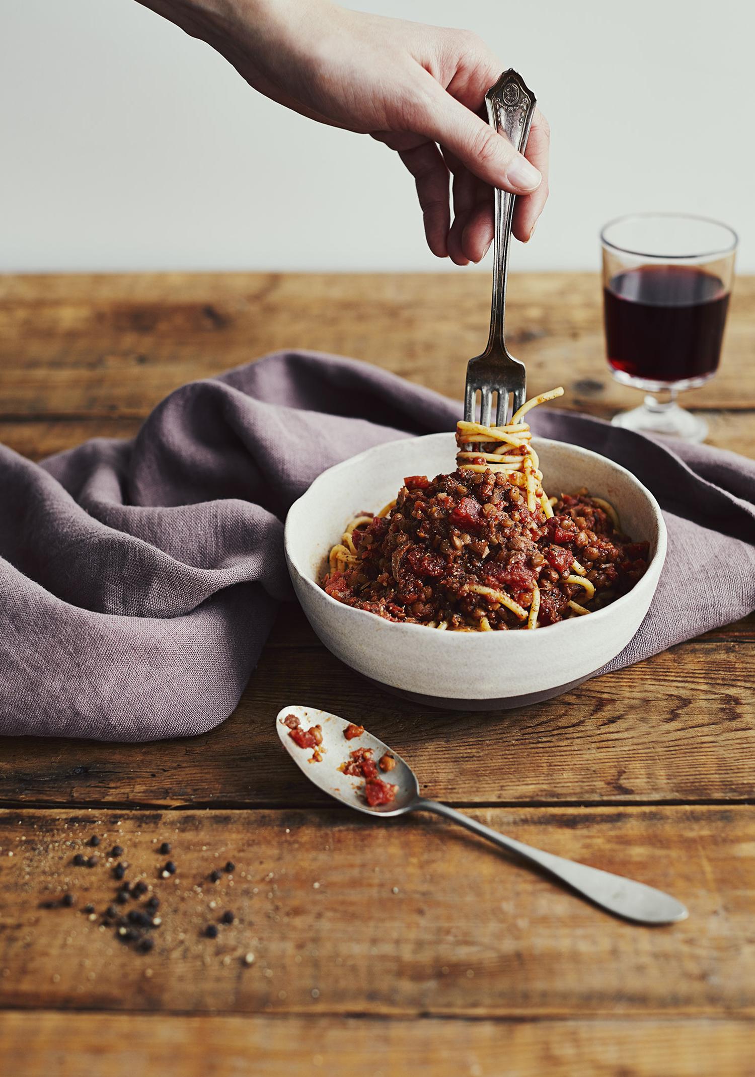 Spaghetti aux lentilles & aux champignons