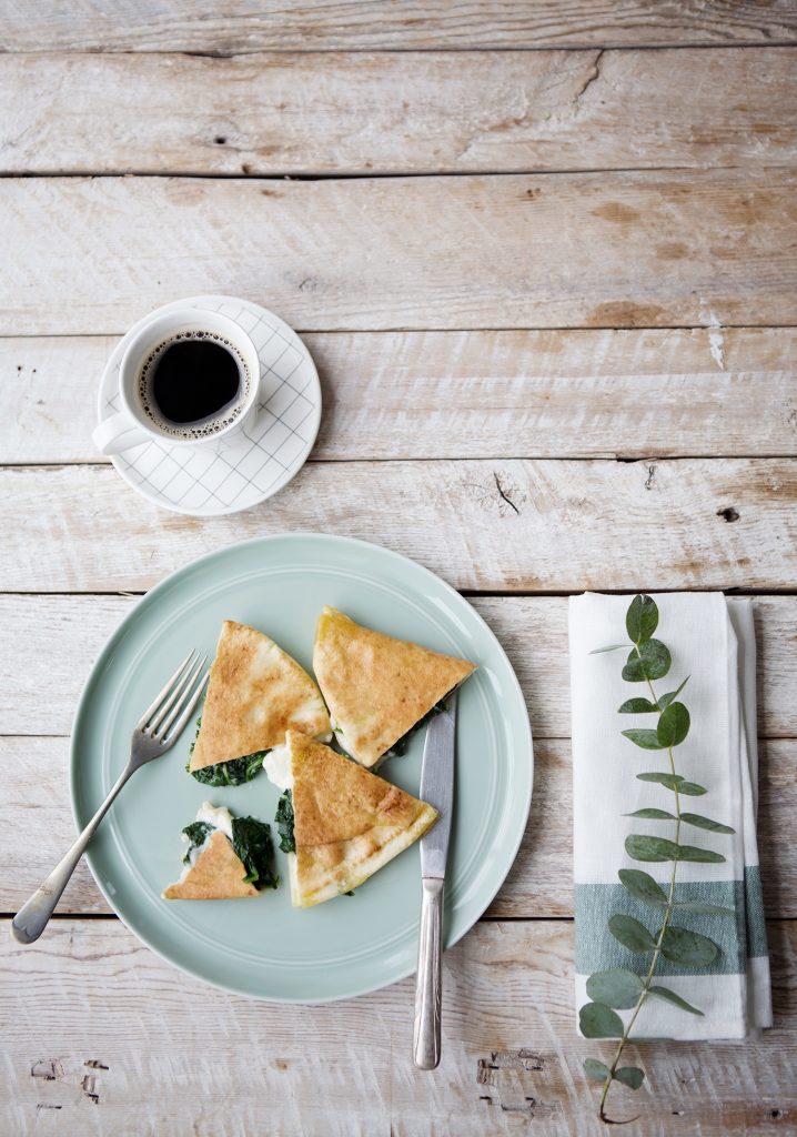 Pita garni aux épinards & fromage féta