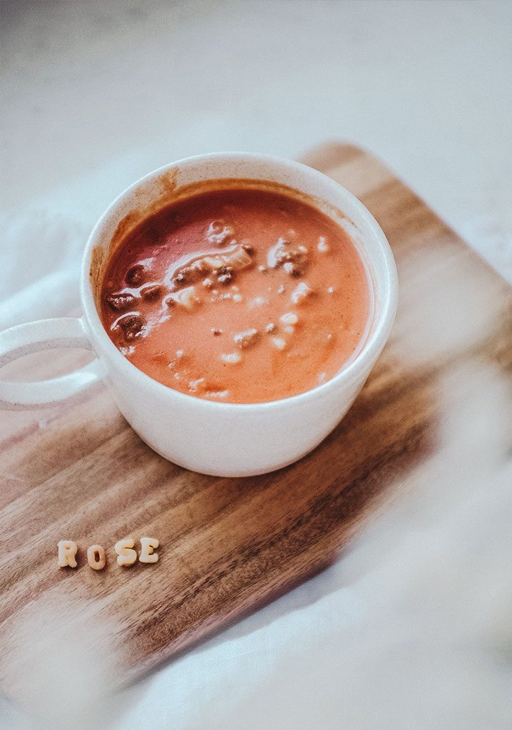 Crème de tomates au bœuf, au cheddar & aux nouilles alphabets