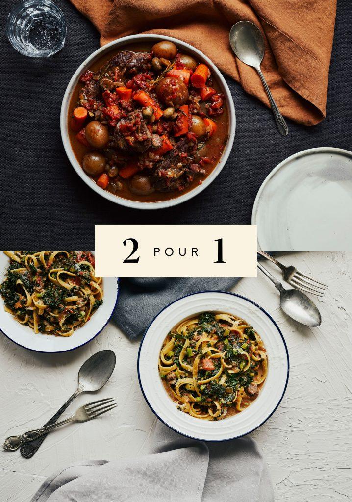 Rôti de palette de bœuf aux légumes / Pâtes crémeuses au jus de bœuf & au kale