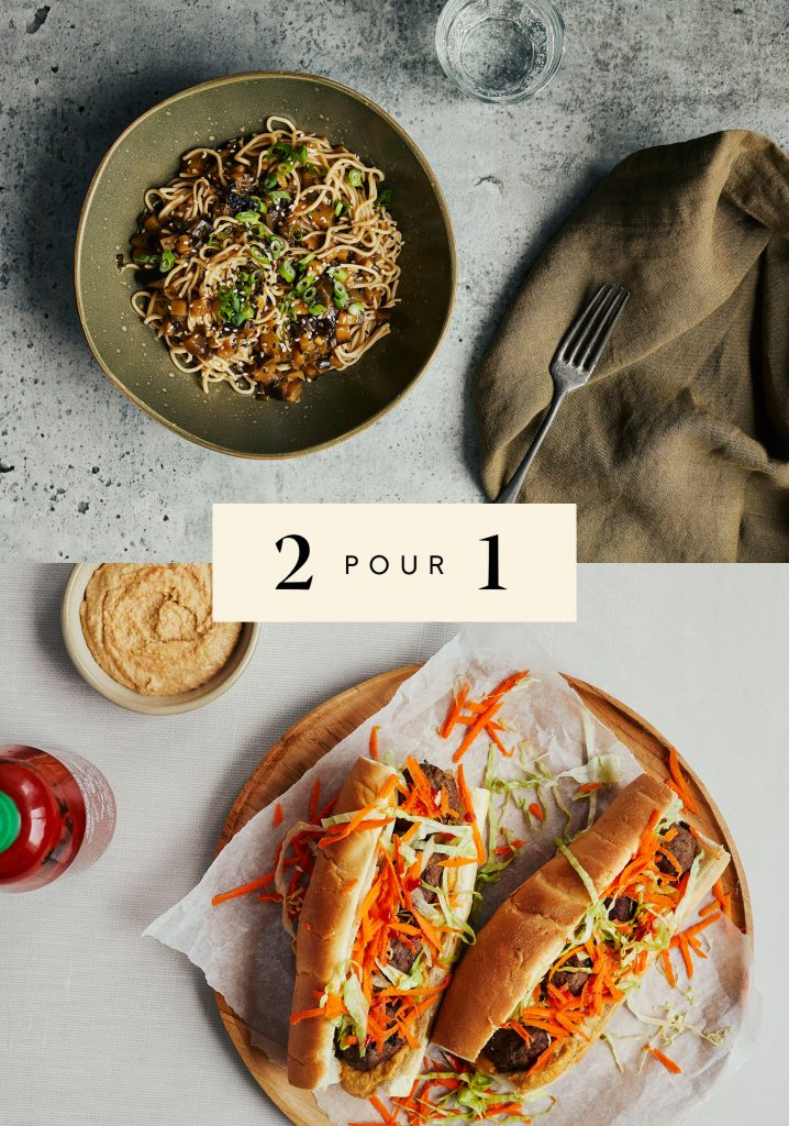 Nouilles aux aubergines & aux oignons verts / Sandwichs aux boulettes de bœuf & tartinade aux arachides