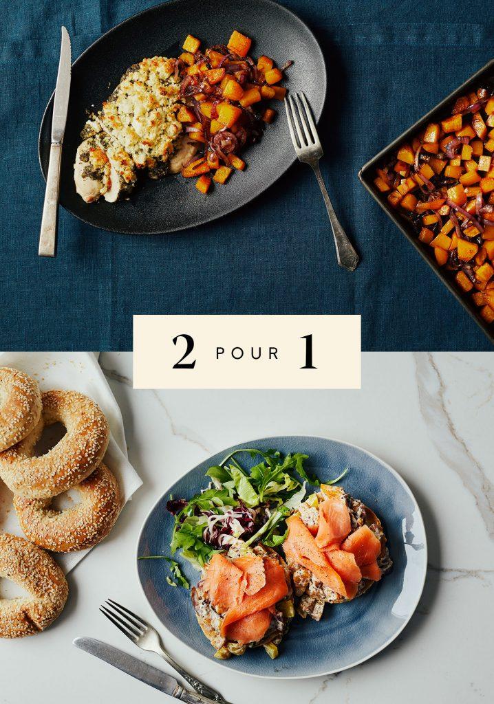 Poitrines de poulet au pesto, au chèvre & à la courge / Bagels à la salade de courge & au saumon fumé
