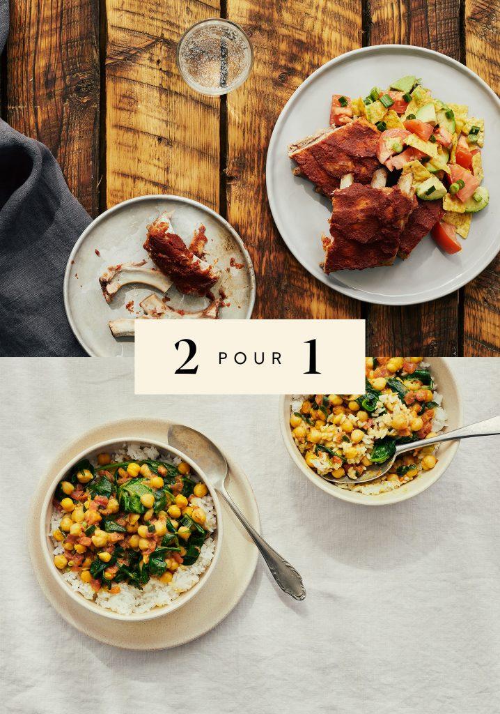 Côtes levées de porc & salade mexicaine / Cari de pois chiches & épinards