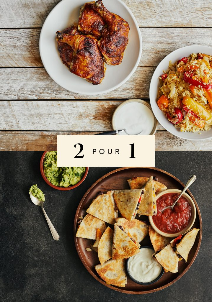 Poulet rôti barbecue & couscous aux poivrons confits / Quesadillas aux haricots noirs & aux poivrons confits