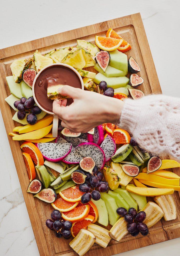 Fondue au chocolat et au lait de coco & plateau de fruits exotiques