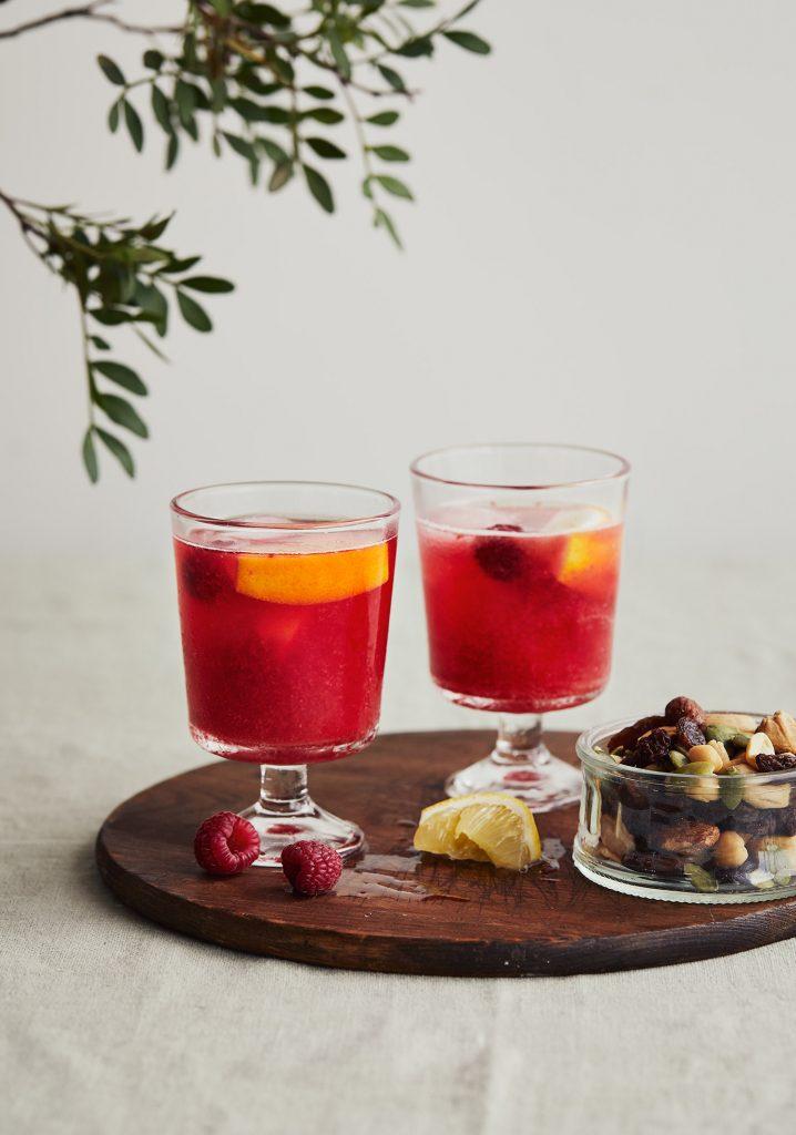 Mocktail aux framboises, au gingembre & au citron