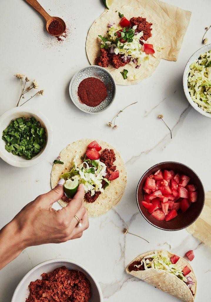 Tacos mexicains à la protéine végétale texturée (PVT)