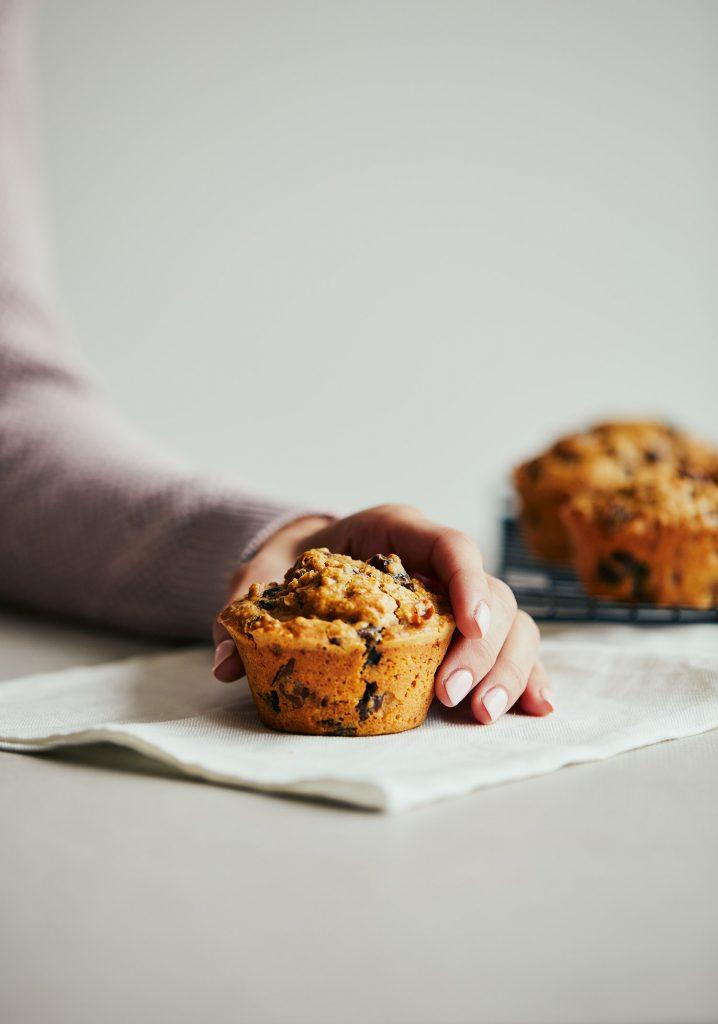 Muffins à Françoise (gruau, dattes & raisins)