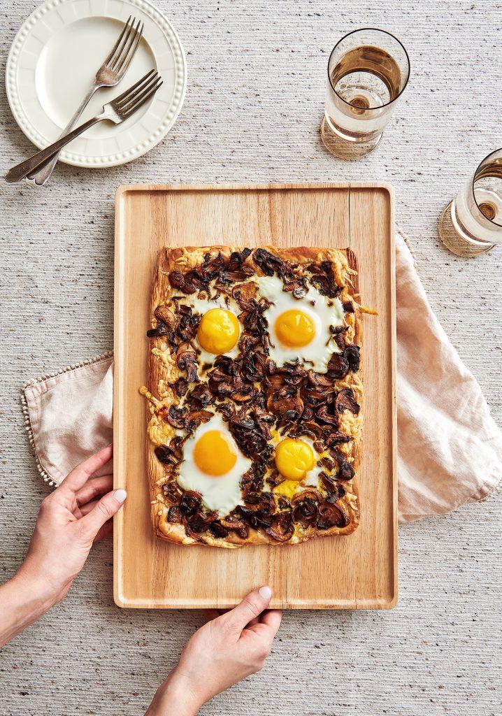 Tarte fine aux champignons & aux œufs